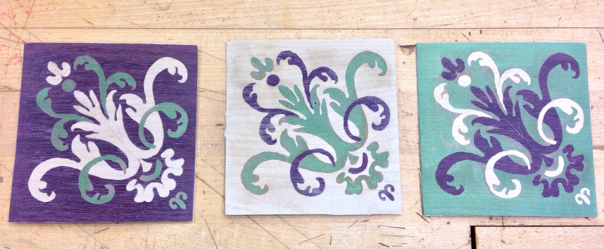 A marquetry triptych