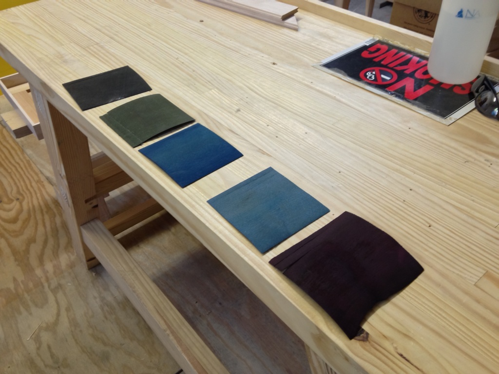 A selection of the dyed samples for the Oeben top marquetry.